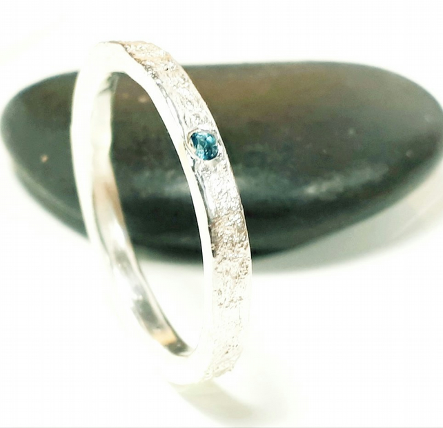 Silver ring, recycled sterling silver topaz ring