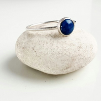 Skinny scratch ring with blue denim lapis