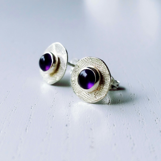 Stud, silver stud earrings, silver amethyst earrings