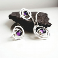 Swirl Amethyst silver pendant and earrings