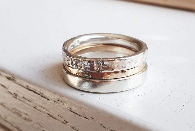 SiIlver gold 3 band ring