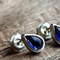 Iolite Teardrop stud earrings