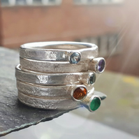 Recycled sterling silver, Gemstone, solitaire ring