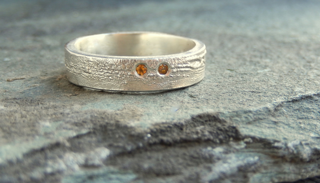 Recycled sterling silver citrine ring