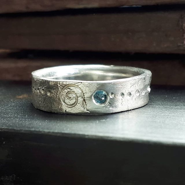 Recycled sterling silver band dot and spiral design with topaz