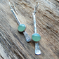 Silver earrings, silver dangle earrings, silver aventurine earrings