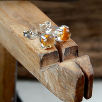 Classic Citrine stud earrings Sterling Silver
