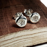 Stud earrings Recycled STERLING SILVER earrings