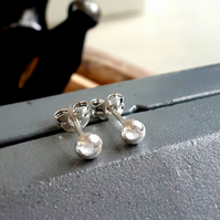 RECYCLED Sterling silver stud 3 mm earrings