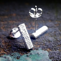 Recycled sterling silver bar stud earrings