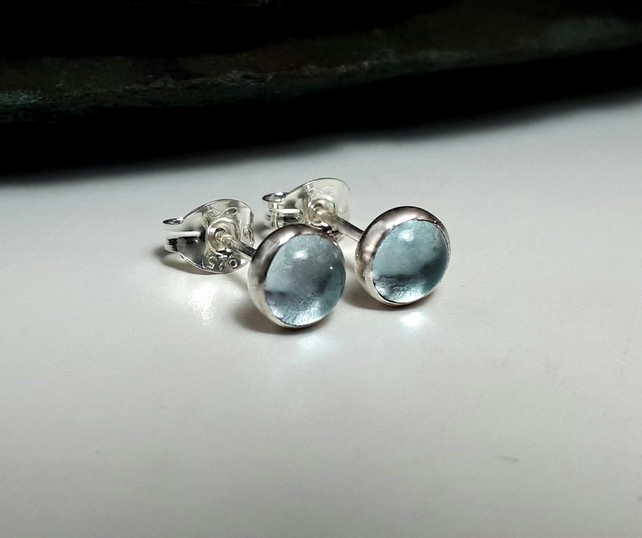 Silver stud earrings, topaz studs, silver earrings