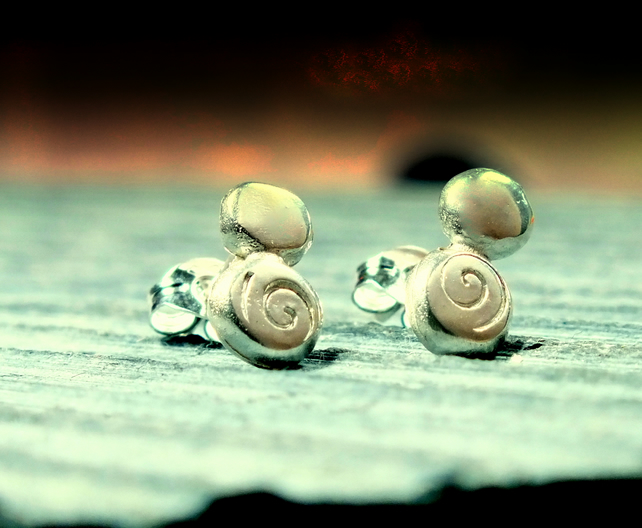 Silver stud earrings,RECYCLED, pebble stud earrings, spiral design
