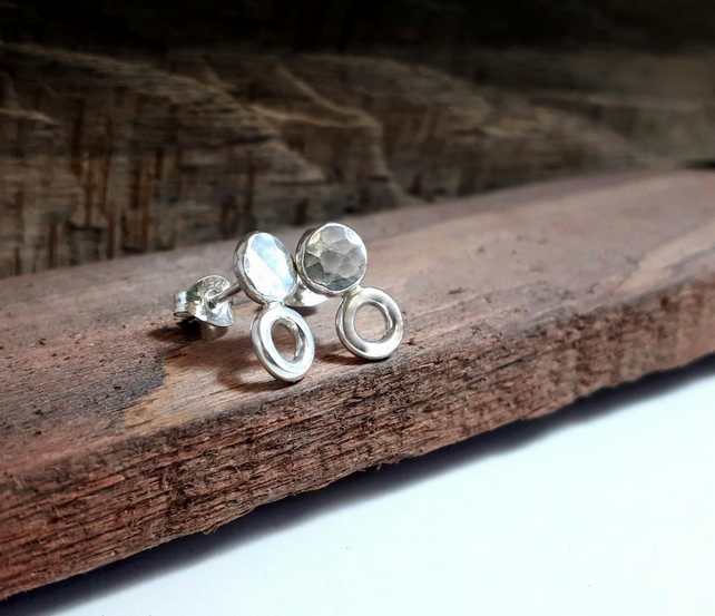 Recycled STERLING SILVER Stud and hoop