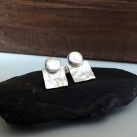 Recycled STERLING SILVER Stud and Square