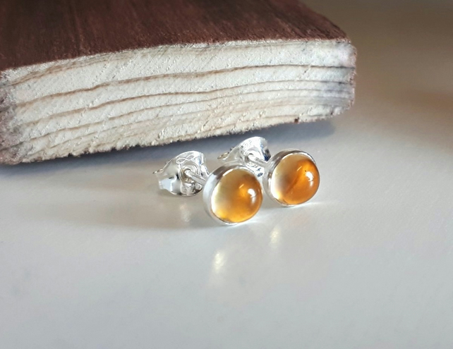 Stud earrings, Citrine 5 mm studs Sterling Silver
