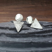 Recycled STERLING SILVER Stud and Triangle