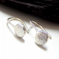 Recycled STERLING SILVER hook pebble earrings