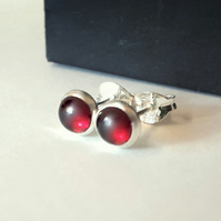Studs, silver stud earrings, silver garnet earrings