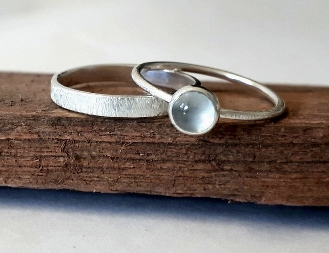 Silver rings, topaz Skinny ring and silver band