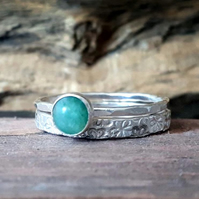Silver rings, Aventurine Skinny ring and silver band