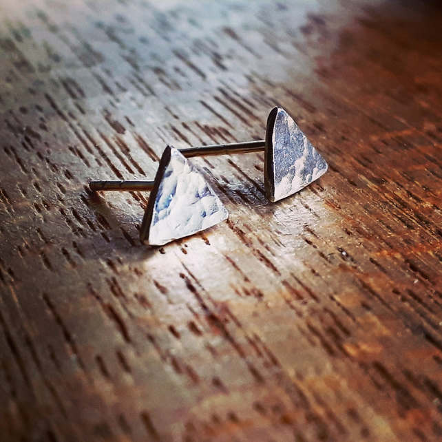 Tiny triangle studs sterling silver