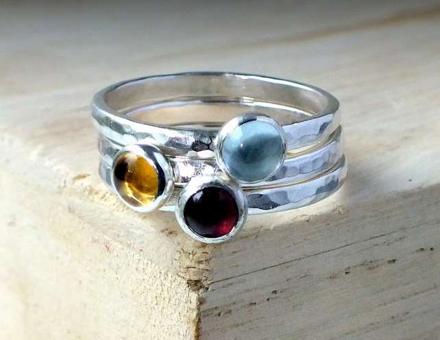 Silver ring, silver stacking rings, Trinity Stacking cabochons