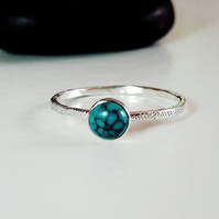 Silver ring,turquoise skinny ring