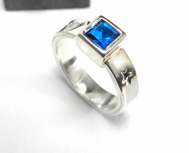 Sterling silver blue zirconia ring