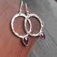 Hoop drop garnet earrings