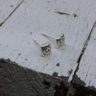 HANDMADE Recycled sterling silver studs
