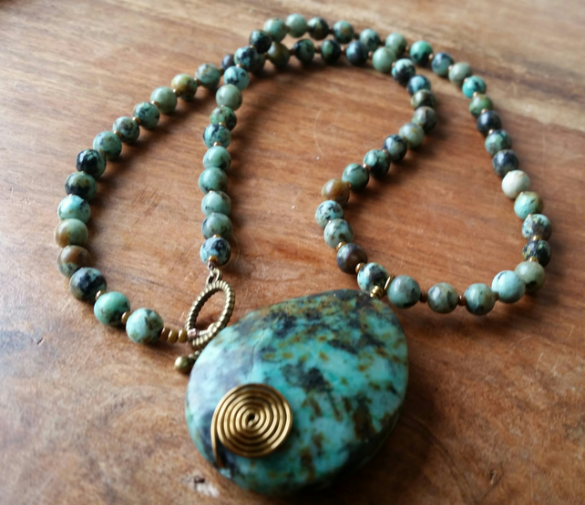 African Turquoise Necklace Necklace