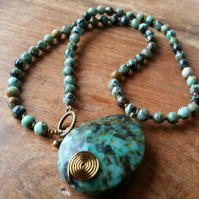 African Turquoise Necklace with Pendant
