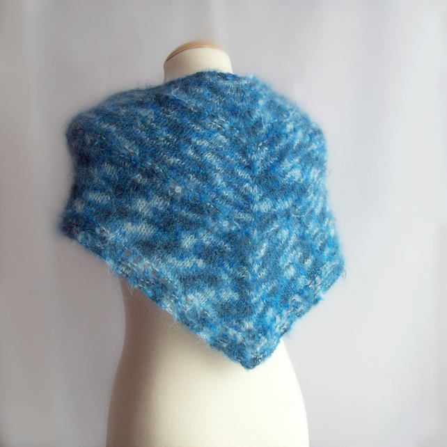Knitting Gifts For Mum : Blue mohair shawl knitted gift for her folksy