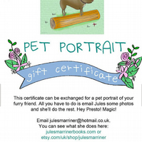Pet Portrait GIFT CERTIFICATE 2 PETS, easy Xmas gift, cat, dogs, horses, rabbit
