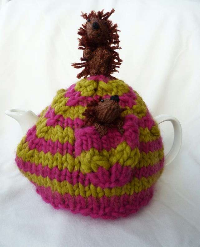 hide and seek hedgehogs tea cosy