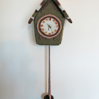 Knitted cuckoo clock, woodland colours