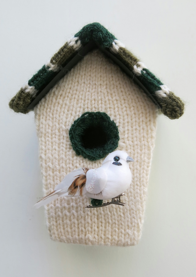 Green Knitted bird house