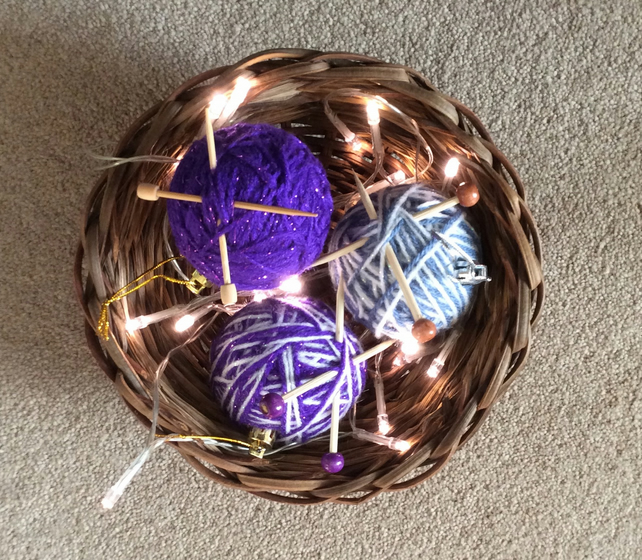 3 knitting ball baubles