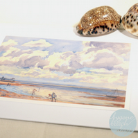 WATER'S EDGE Greetings Card BYGONE BEACH DAYS watercolour - Vintage