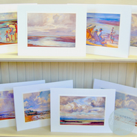 8 x Beautiful Assorted BYGONE BEACH DAYS Greetings Cards from 1920's - Vintage