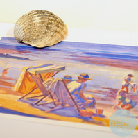 THE BEACH Greetings Card BYGONE BEACH DAYS watercolour - Vintage