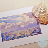 STORM CLOUDS Greetings Card BYGONE BEACH DAYS watercolour - Vintage