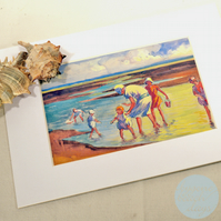 PADDLING Mounted Picture BYGONE BEACH DAYS - Vintage