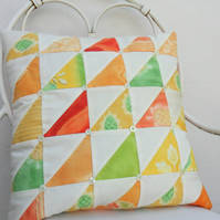 Citrus Triangles Patchwork Cushion Cover
