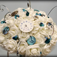 Ocean Steampunk bouquet Ivory roses.