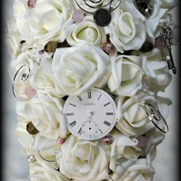 Teardrop Steampunk Ivory and Pink bouquet