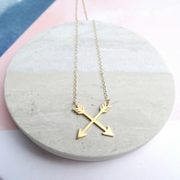 24k Gold Plated Crossed Arrows Necklace