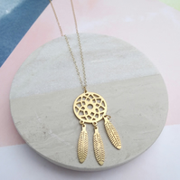 24k Gold Plated Dreamcatcher Necklace