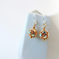 Gold Rhinestone Bead Earrings -- Sparkly Beaded Drops -- Sterling Silver Hooks
