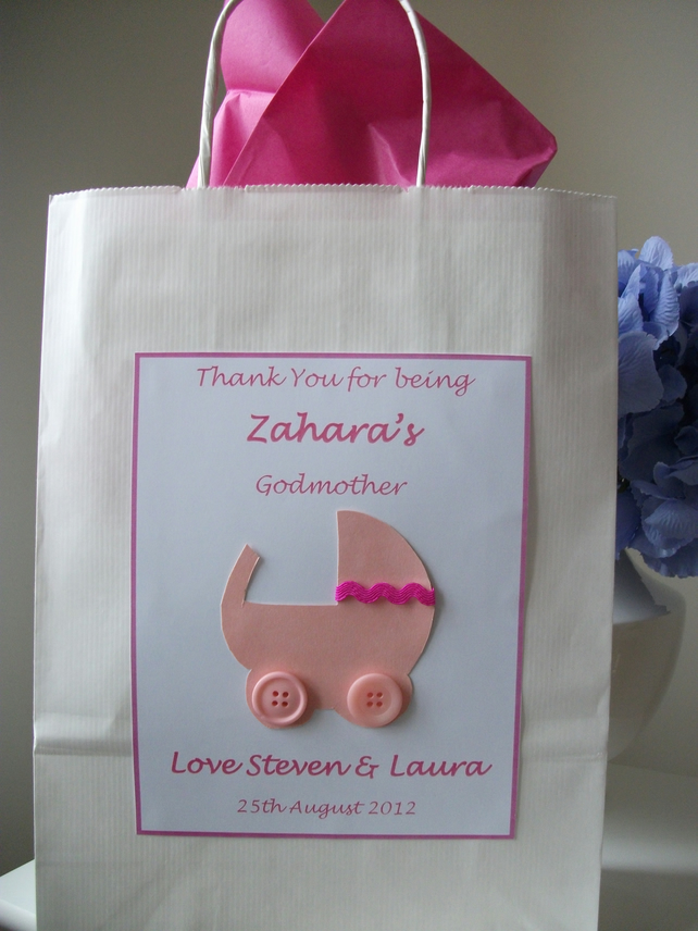 Personalised Thank You Godparent, Christening, Naming Day, Baby Shower Gift Bag